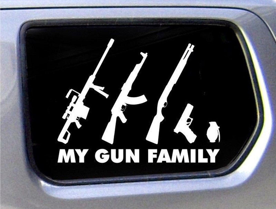 Amazon com truck funny decal bumper my gun family car stickers figure family home kitchen