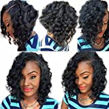 Ten Chopstics Wigs Short Curly 360 Lace Frontal Wigs for Black Women 12 ''Human Hair with Baby Hair Side Part Pre Plucked 100% Virgin Brazilian Hair Wig for African Americans Bleached Knots Stock