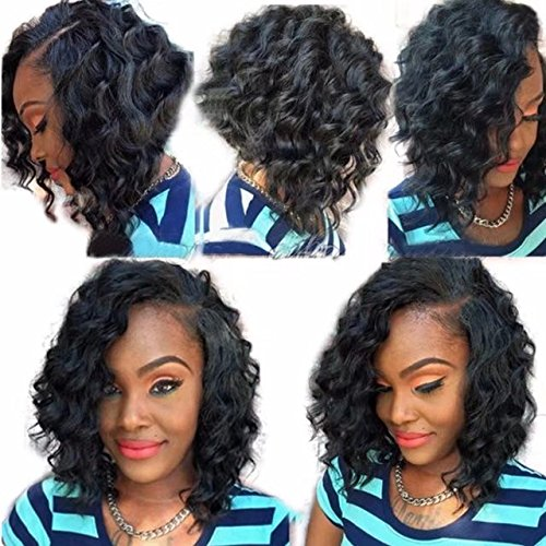 Ten Chopstics Wigs Short Curly 360 Lace Frontal Wigs for Black Women 12 ''Human Hair with Baby Hair Side Part Pre Plucked 100% Virgin Brazilian Hair Wig for African Americans Bleached Knots Stock by Ten Chopstics