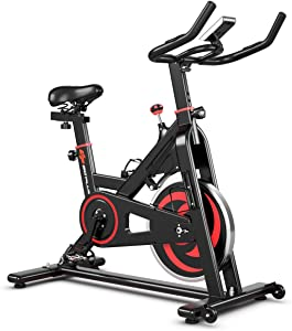 Goplus Exercise Magnetic Bike, Noise-Free Stationary Belt Drive Bicycle, Indoor Cycling Bike w/LCD Monitor for Home Gym Cardio Workout