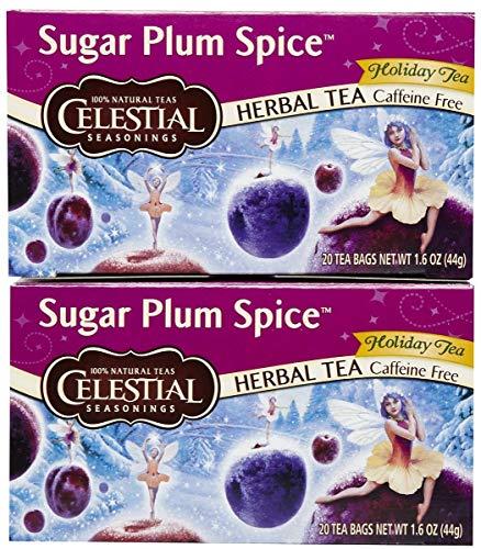 (Celestial Seasonings Sugar Plum Spice Herbal Holiday Tea Bags, 20 ct, 2 pk)