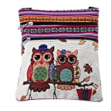 quilted wallets for teen girls - 2018 Cheap Canvas Handbags for Girls Mini Owl Bags for Women (Brown)