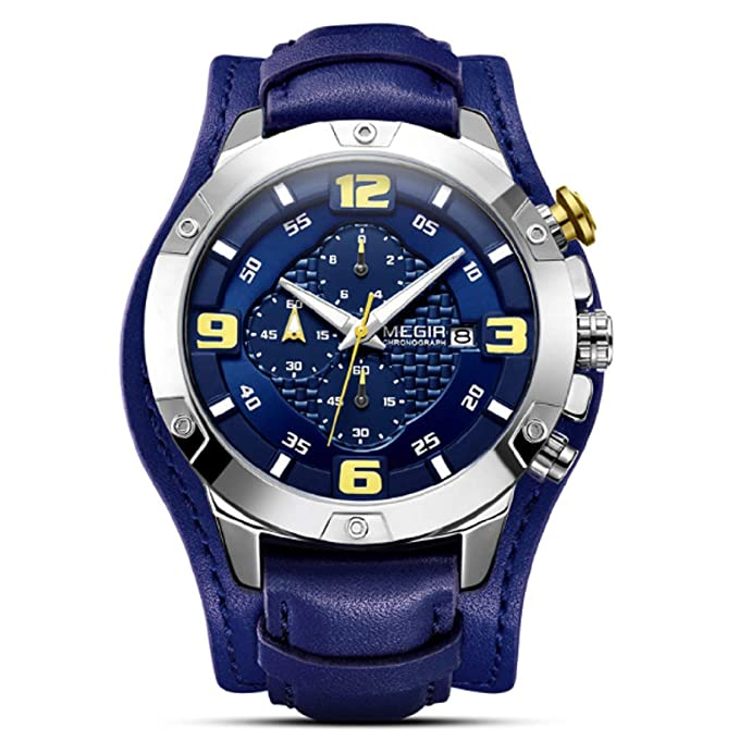 Amazon.com : Big Mens Watches Luxury Brand Chronograph Quartz Watch Men with Leather Bracer Relogio Masculino Reloj Hombre Dropship (Black) : Sports & ...