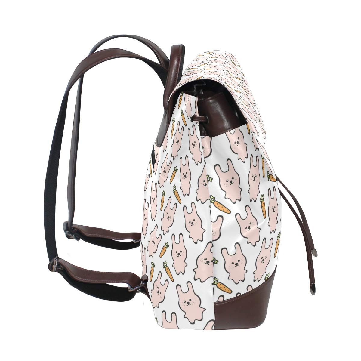 Leather Cute Pink Rabbit Bunny Wth Carrots Backpack Daypack Elegant Ladies Travel Bag Women Men