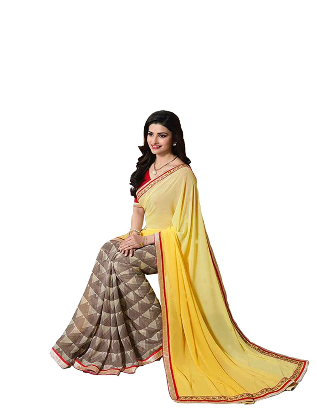 Buy Sarees Khushbu Fashion Women S Clothing Designer Wear Offer Buy Online In Yellow Georgette Material Printed Free Size Beautiful Saree For Women Offer Designer Sarees At Amazon In