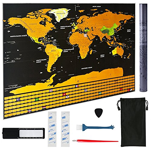 Scratch Off Map of The World Poster Large Travel Tracker Map 32.5x23.5'' with Scratching Accessories, Includes US States and Country Flags