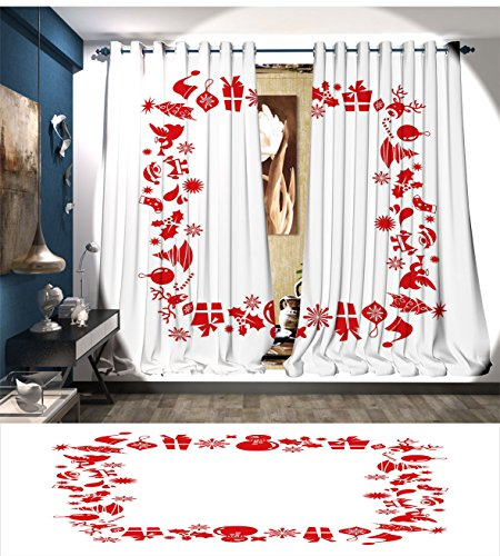 PriceTextile New Year Waterproof Window Curtain Christmas Themed Arrangement Santa Trees Baubles Reindeers Red Toned Illustration Blackout Draperies For Bedroom Red (Santa's Reindeer Make This Noise)