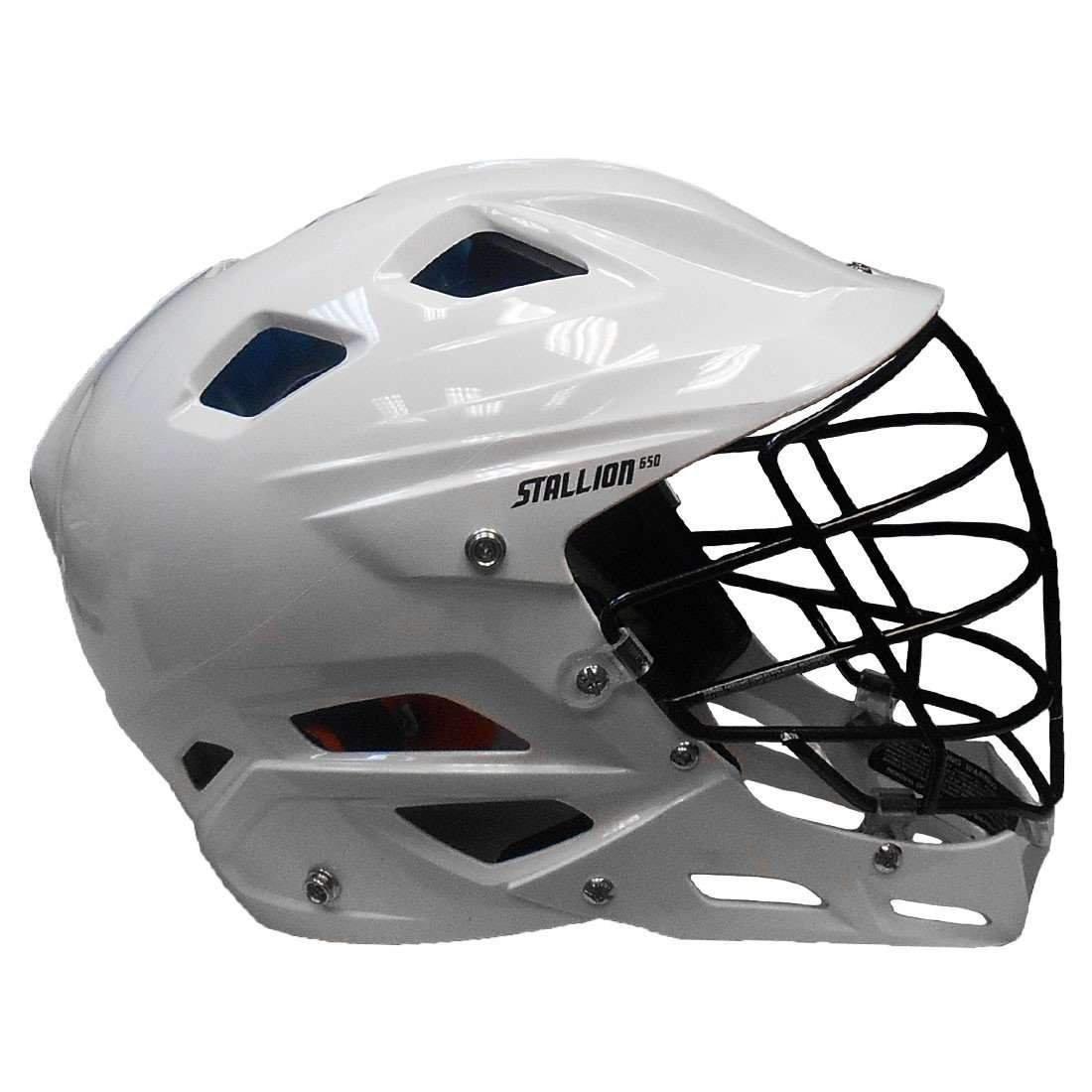 White, Large STX Stallion 650 Adult Lacrosse Helmet