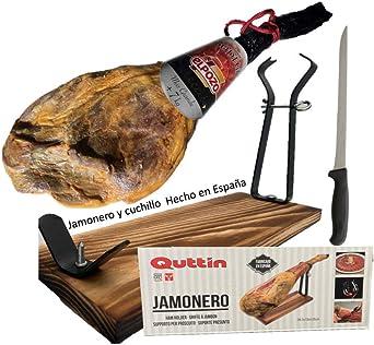 Jamón Serrano Bodega 7 kilos + Jamonera de madera: Amazon.es ...