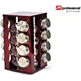Gems Revolving Metallic Spice Rack with 16 Jars - Ruby, Onyx, Quartz (Ruby)