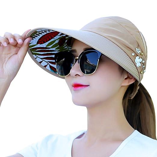 bfc3c44f636ae8 Oyachic Women's Foldable Sun Hat Wide Brim Adjustable Travel Cap Anti UV  and Waterproof Sunbonnet with