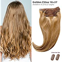 """Golden Chloe (Dirty Blonde 18+Carmel Blonde 27) Clip in Hair Extensions - 100% Remy Human Hair by Estelle's Secret, 16"""" Straight - 120g, Piano Blend"""