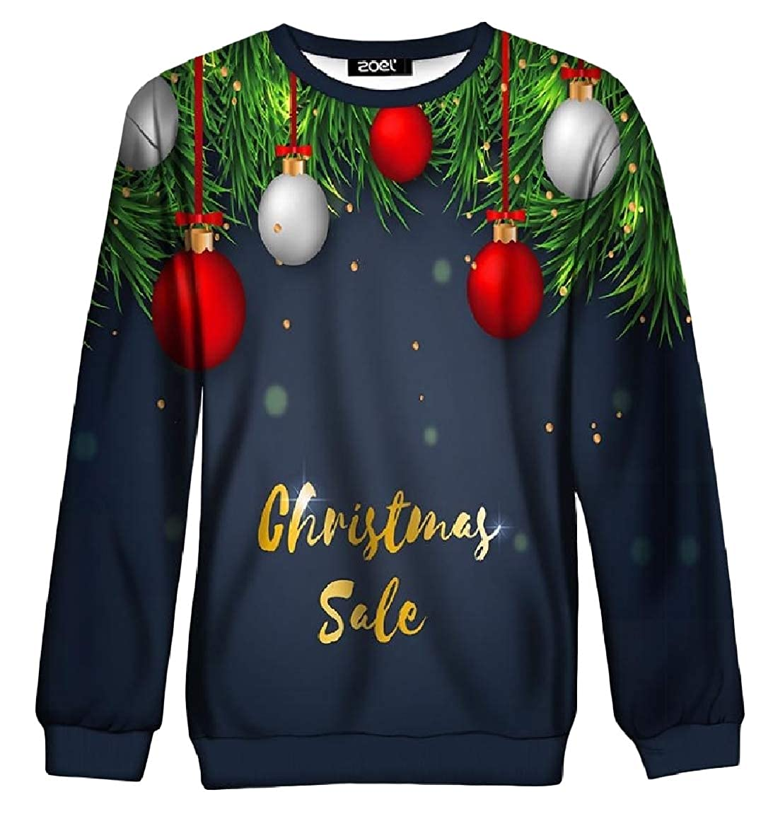 RingBong Womens Floral Print Casual O-Neck Long Sleeve Christmas Pullover Sweatshirt