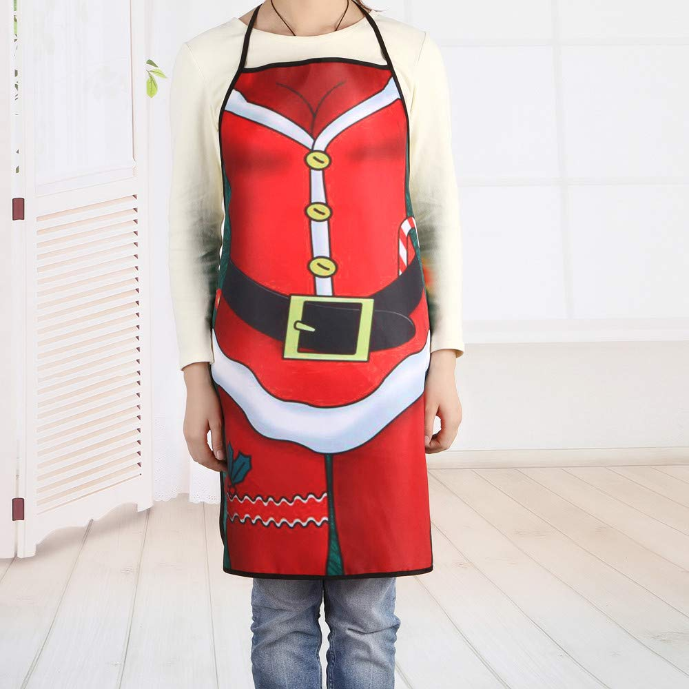 Y56(TM) Unisex Merry Christmas Apron for Women Men Party Ornaments Cartoon Print Xmas Decorative Kitchen Chef's Apron for Cooking Baking Crafting BBQ Salon Home Decorations Decors - NO.3 (A)