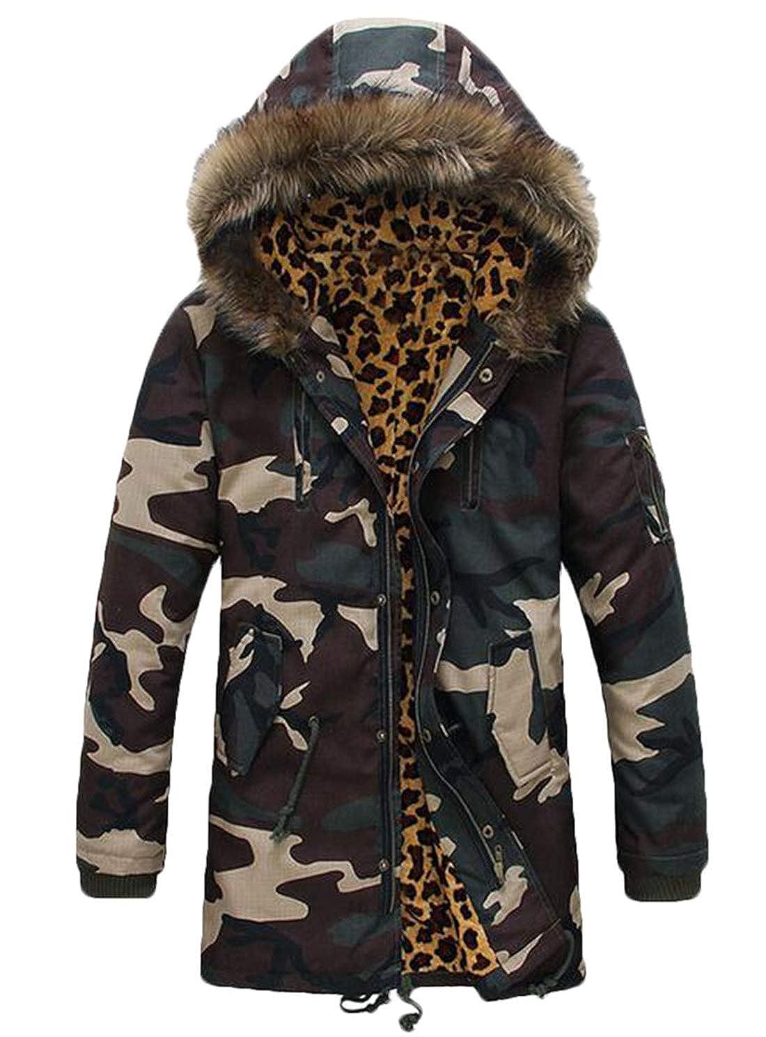XiaoTianXinMen XTX Mens Winter Faux Fur Collar Warm Fleece Lined Thicken Camo Jacket Overcoat