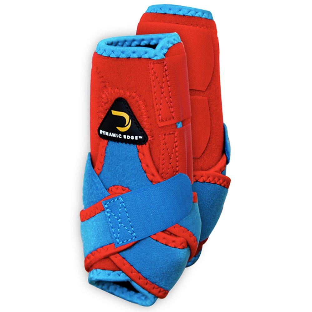 小さなダイナミックエッジ2トーンHorse前脚スポーツブーツペアレッドターコイズ B06XJDVSQL