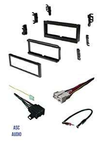ASC Audio Car Stereo Install Dash Kit, Wire Harness, and Antenna Adapter for installing a Single Din Aftermarket Radio for some GM Buick Cadillac Chevrolet GMC Oldsmobile Pontiac- No Factory Bose/Amp