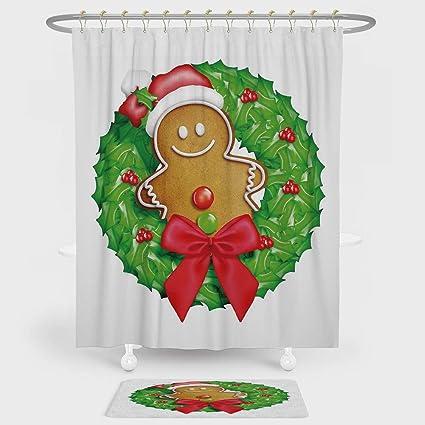 IPrint Gingerbread Man Shower Curtain And Floor Mat Combination Set Cartoon Christmas Wreath With
