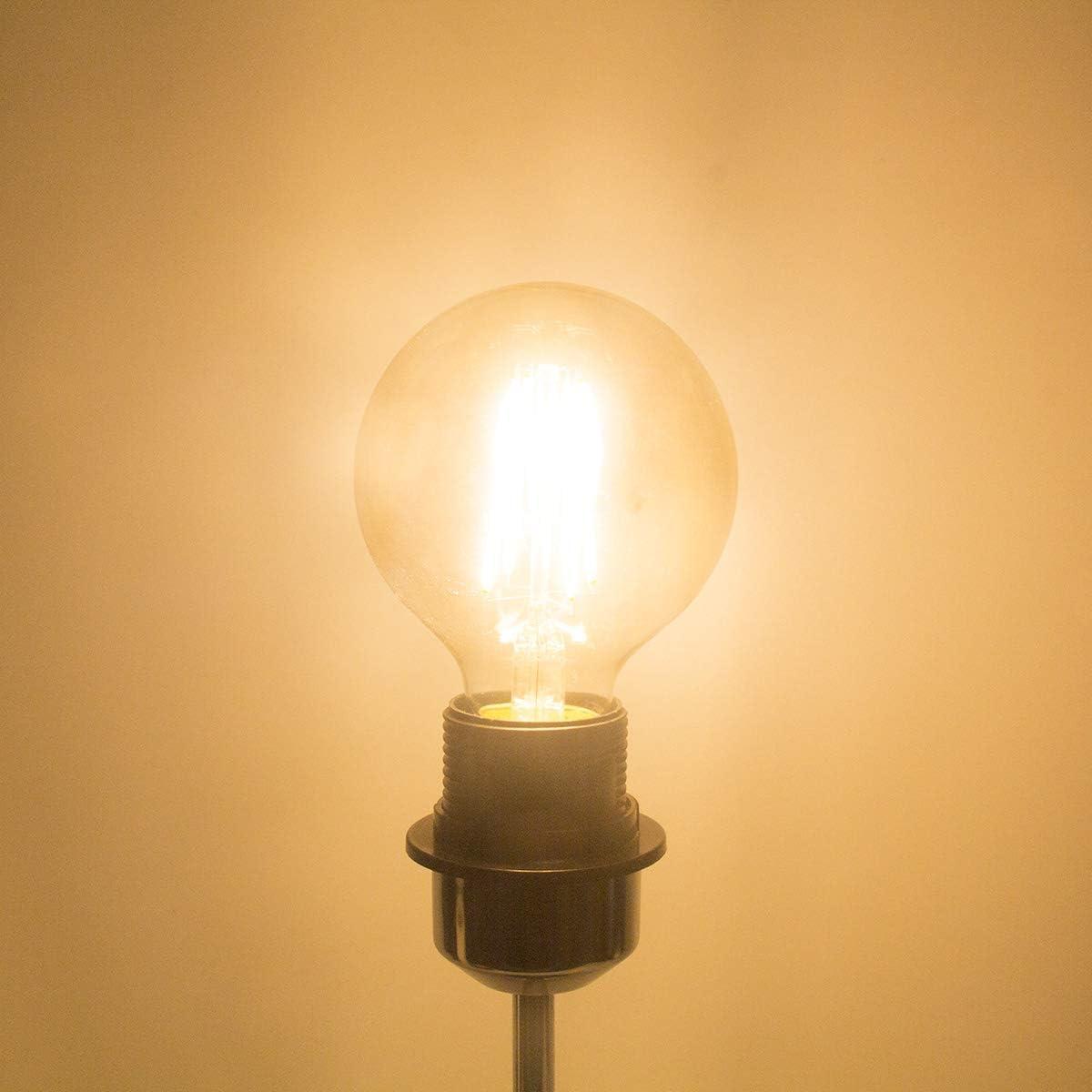 Daylight 6 Pack E26 Base Pack Of 6 Dimmable Edison Led Globe Light Bulb G25 Daylight