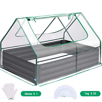 Quictent 49''x37''x36'' Extra-Thick Galvanized Steel Raised Garden Bed Planter Kit Box with Greenhouse 2 Large Zipper Windows Dual Use, 20pcs T-Types Tags & 1 Pair of Gloves Included (Clear Cover): Garden & Outdoor