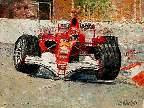 Monaco Hairpin - Ferrari formula 1 Grand Prix racing motorsport painting by internationally renown painter Andre Dluhos
