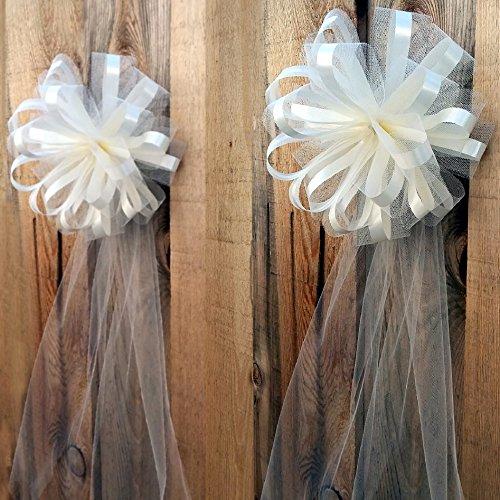 (Large Assembled Ivory Wedding Pew Bows - 10