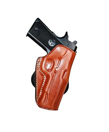 Premium Leather OWB Paddle Holster with Open Top Fits, Springfield 1911 EMP  4''BBL Lightweight Champion 9mm, Right Hand Draw, Brown Color #1008#