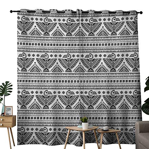 NUOMANAN Curtains for Bedroom Native American,Ethnic Primitive Tribal Art Pattern with Eagle Symbol Mystic Culture Folk,Black White Curtain Panels for Bedroom & Kitchen,1 Pair52 -