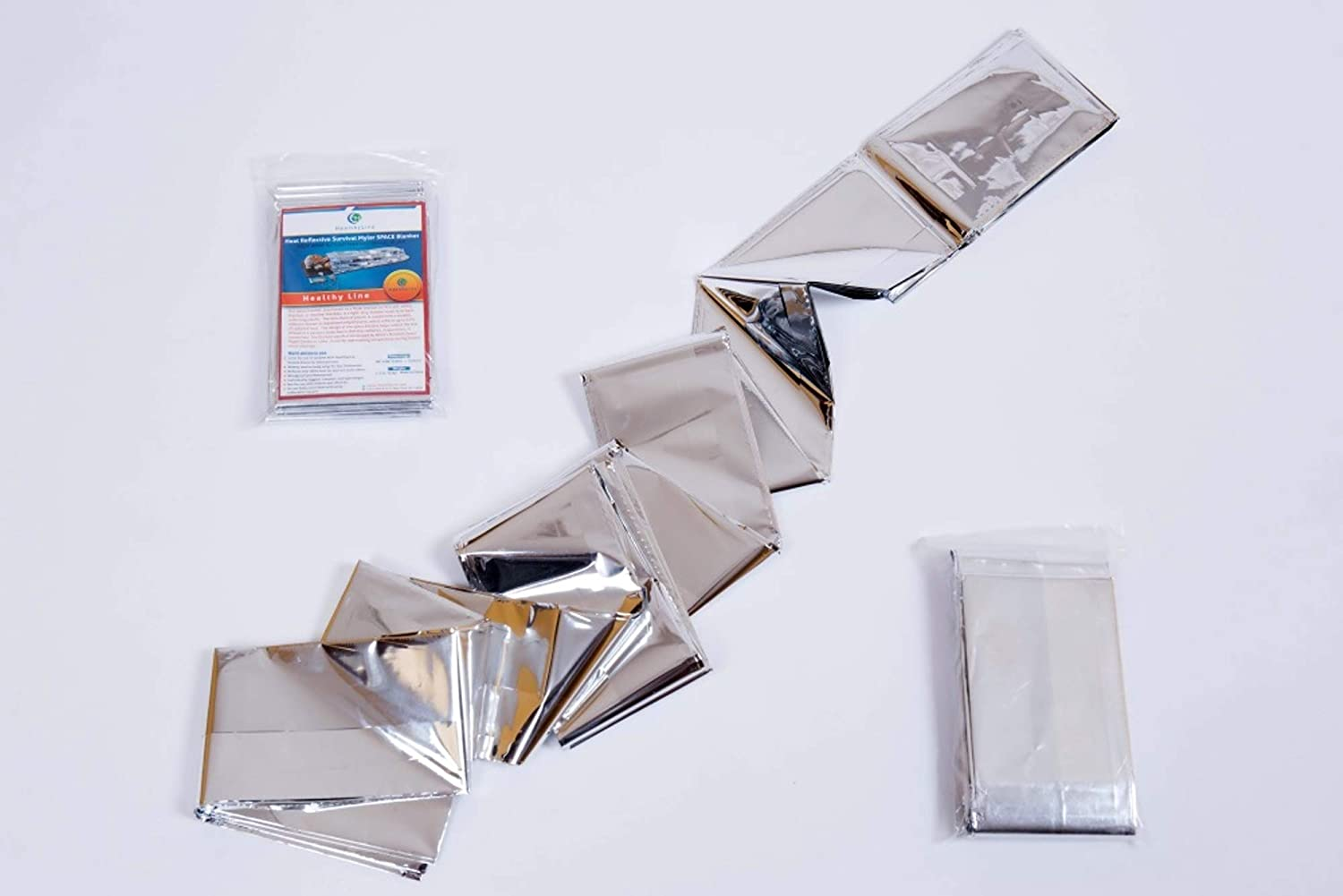 Pack of 50 pcs Retains up to 97/% of Body Heat Thermal Foil Sauna Blanket 64in x 84in Survival Mylar Blankets Far Infrared Therapy HealthyLine - for Detox /& Weight Loss