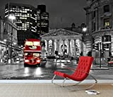 London Bus Wall Mural Photo Wallpaper Black & White Iconic London City (Large 1500mm x 1150mm)