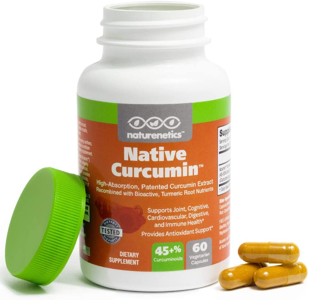 Turmeric Curcumin New Patented Turmeric Extract – Supports Joints and Overall Health – Native Curcumin, 10x Better Absorption – No Black Pepper Needed – 1 Capsule Contains 45-50 Curcuminoids