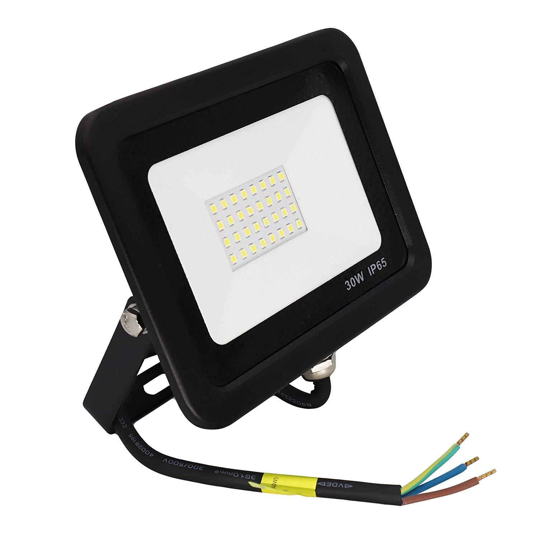 POPP/® juegos de 5 y 10 Floodlight Led Foco Proyector Led 10w 20w 30w para Exterior Iluminaci/ón Decoraci/ón 6000k luz fria Impermeable IP65 Negro y Resistente al agua. Focos 20 Watios, 1 unidad
