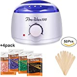 Wax Warmer Hair Removal Kit,Waxing Kit,JINGOU Rapid Melt Wax Heater Pot Skin Care with 4 Packs Hard Wax Beans and 50 pcs Wax Applicator Sticks for Facial,Feet,Hands,Armpit,Eyebrow