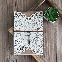 10 Sets Design Flower Lace White Wedding Invitaitons Cards Blank Print Ribbons Key Decoration Convite Send Envelope Seal