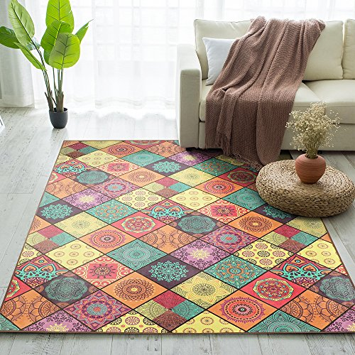 Carvapet Non-slip Living Room Rug Vintage Design Baroque Style Area Rug with 8 Pieces Rug Grippers, 5'x7' ()