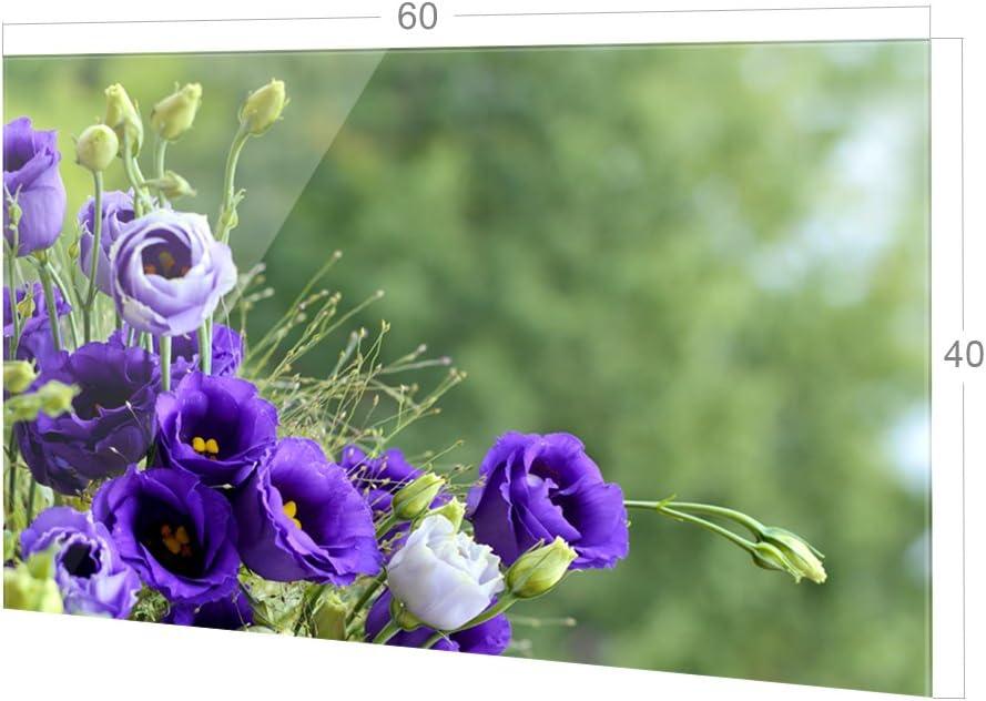 K/üchenr/ückwand K/üchenspiegel Glasr/ückwand GRAZDesign Spritzschutz Glas f/ür K/üche Herd 60x40cm Bild-Motiv Blumenstrau/ß in Lila