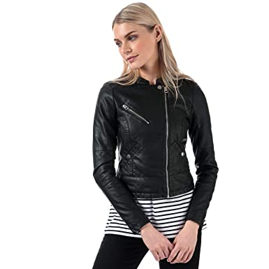 0fc9ab8f135392 Image Unavailable. Image not available for. Color: VERO MODA Women's Nora  Favo Faux Leather Jacket 6 Black