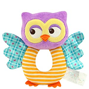 Cute Cartoon Baby Rattle Baby Owl Type Handbell Plush Stuffed Animal Shaker Toy Ring Rattle