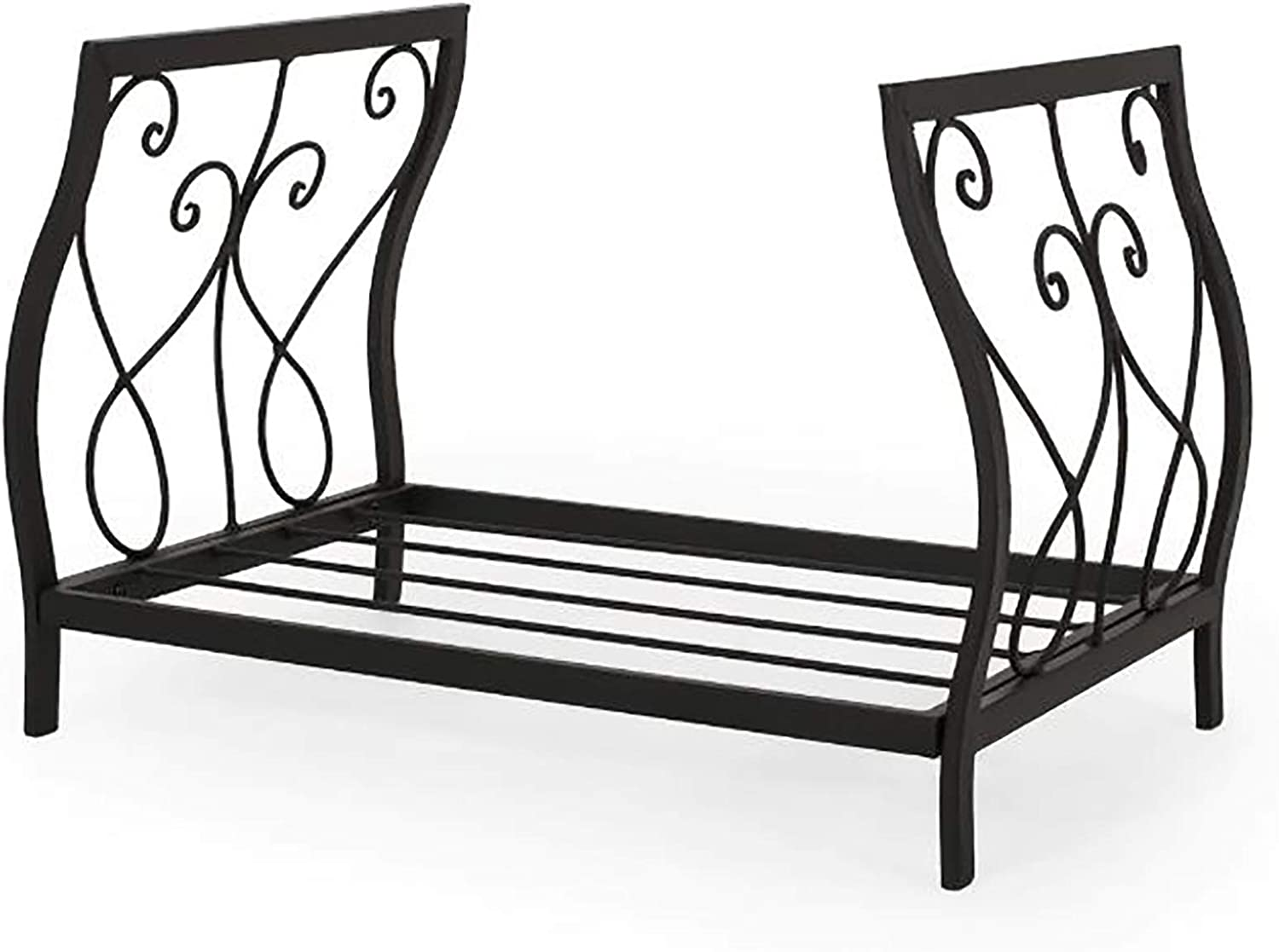 Wrought Iron Heavy Duty Indoor Outdoor Lumber Storage Stacking 22 Inch Scrollwork Firewood Rack//Wood Carrier//Fireplace Log Holder Black