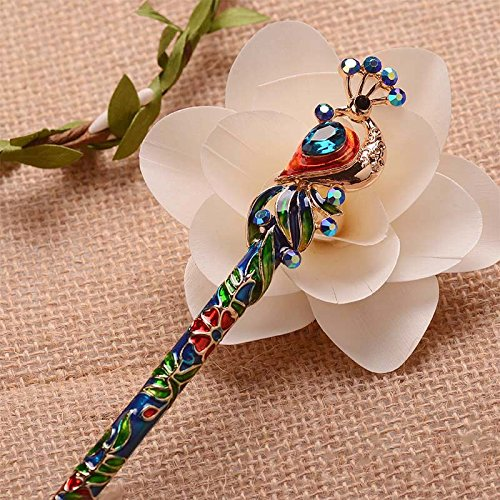 isonne Enamel Crystal Peacock Hair Stick Hairpin Chinese Style Handmade Hair Accessories ()