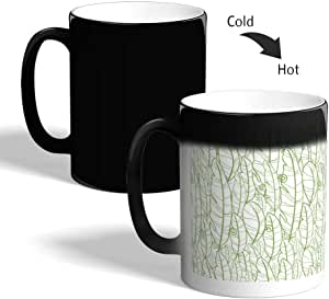 Leaves motifs Printed Magic Coffee Mug, Black