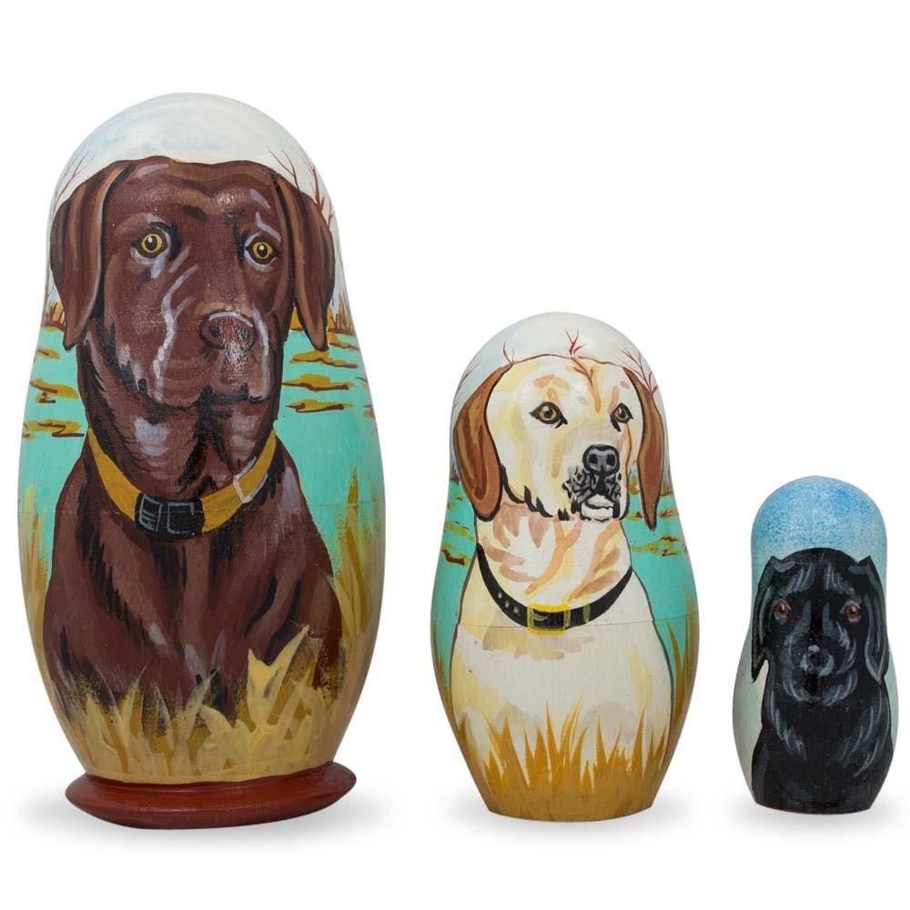 BestPysanky Set of 3 Chocolate, Yellow & Black Labrador Retrievers Wooden Nesting Dolls 4.25 Inches