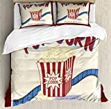 Movie Theater Queen Size Duvet Cover Set by Ambesonne, Fresh and Delicious Pop Corn Film Tickets and Strip Advertising in 60s Theme, Decorative 3 Piece Bedding Set with 2 Pillow Shams, Multicolor