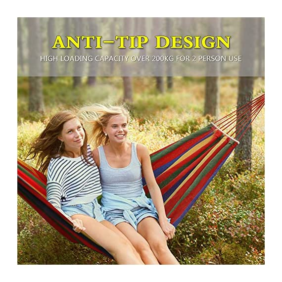 Aukee Camping Hammock, Striped Canvas Fabric Portable Garden Hammocks Ultralight Outdoor Beach Swing Bed with Strong Rope+Stuff Sack(78.74''× 59.05'',Red Stripes, Double) -  - patio-furniture, patio, hammocks - 61BfkMksd1L. SS570  -