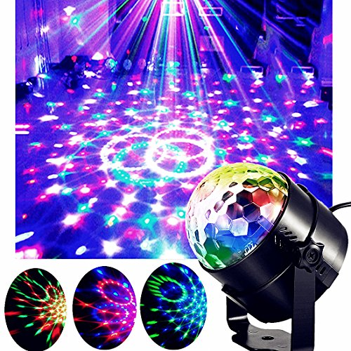 Disco Party Lights Projector Disco Ball Color Changing Sound Activated Rotating Crystal Magic Ball Projector Stage Effect Strobe Lights 7 color with Remote Control for KTV Club Bar Home Party