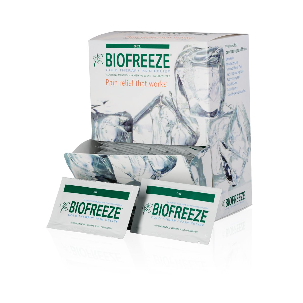 Biofreeze On-the-Go Pain Relief Gel, 5 mL Packets, 100 Count, Green (Packaging May Vary) by Biofreeze