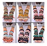 2 Pairs Random Colored Lovely Jacquard Extra Thick Mittens Warm Knit Long Autumn and Winter Couples Gloves