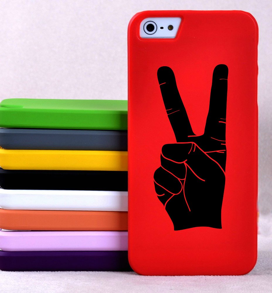 Peace Hand Sign Silhouette - XS - Smartphones, Tablets, and Computers - Vinyl Wall Art Decal for Homes, Offices, Kids Rooms, Nurseries, Schools, High Schools, Colleges, Universities, Interior Designers, Architects, Remodelers