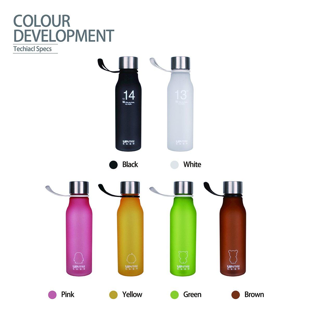 UPSTYLE Eco-friendly colorido plástico botella para hacer deporte con cuerda de silicona bebidas botellas a prueba de fugas Mate taza de viaje para café, ...