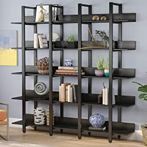 Tribesigns Rustic Triple Wide 5-Tiers Open Bookcase, Vintage Industrial Large 5 Shelf Bookshelf Furniture, Etagere Bookcases with Back Fence for Home Office Decor Display (Black)